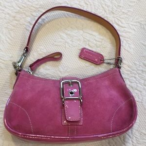 Coach mini suede and patent leather handbag
